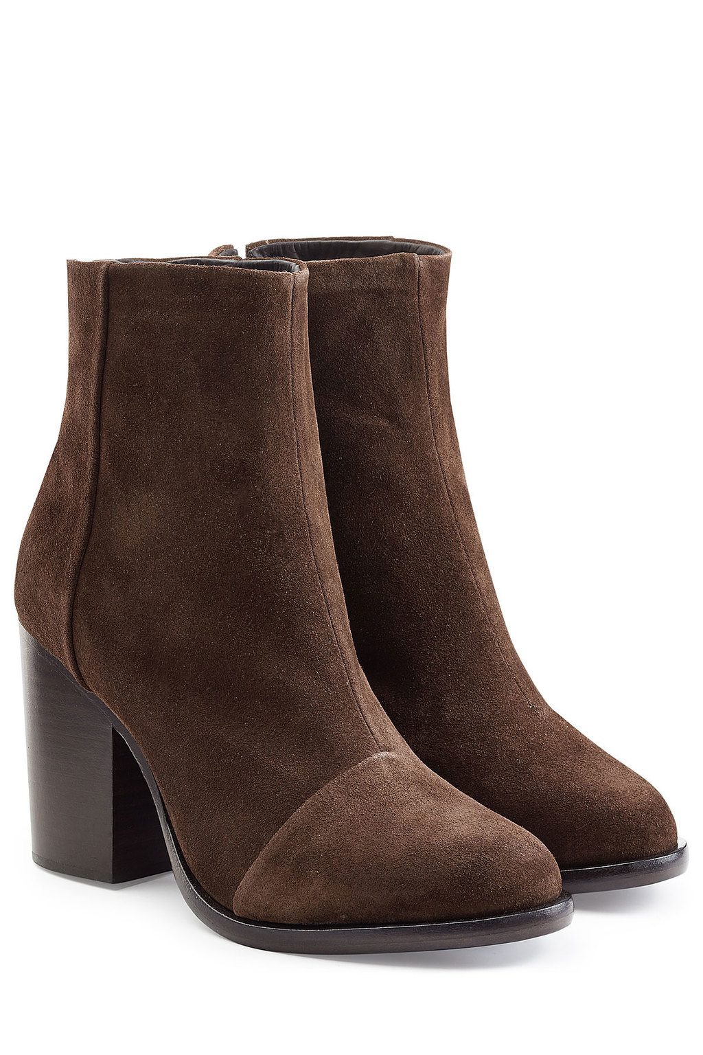 Ashby Suede Ankle Boots Brown - predominant colour: chocolate brown; material: suede; heel height: high; heel: block; toe: round toe; boot length: ankle boot; style: standard; finish: plain; pattern: plain; occasions: creative work; season: s/s 2016; wardrobe: highlight