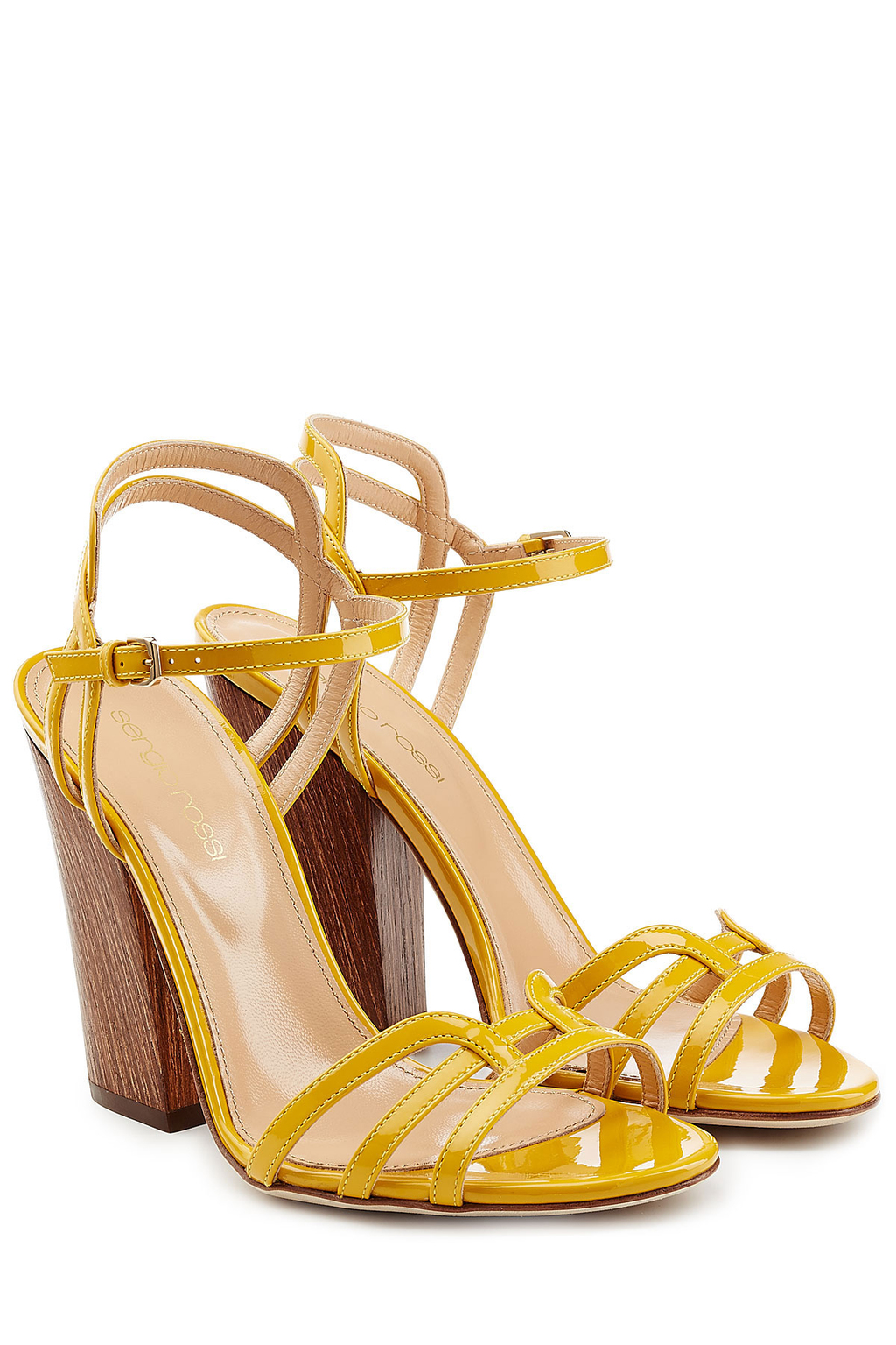 Patent Leather Sandals With Wooden Heel - predominant colour: yellow; occasions: evening; material: leather; heel height: high; heel: block; toe: open toe/peeptoe; style: strappy; finish: patent; pattern: plain; season: s/s 2016; wardrobe: event