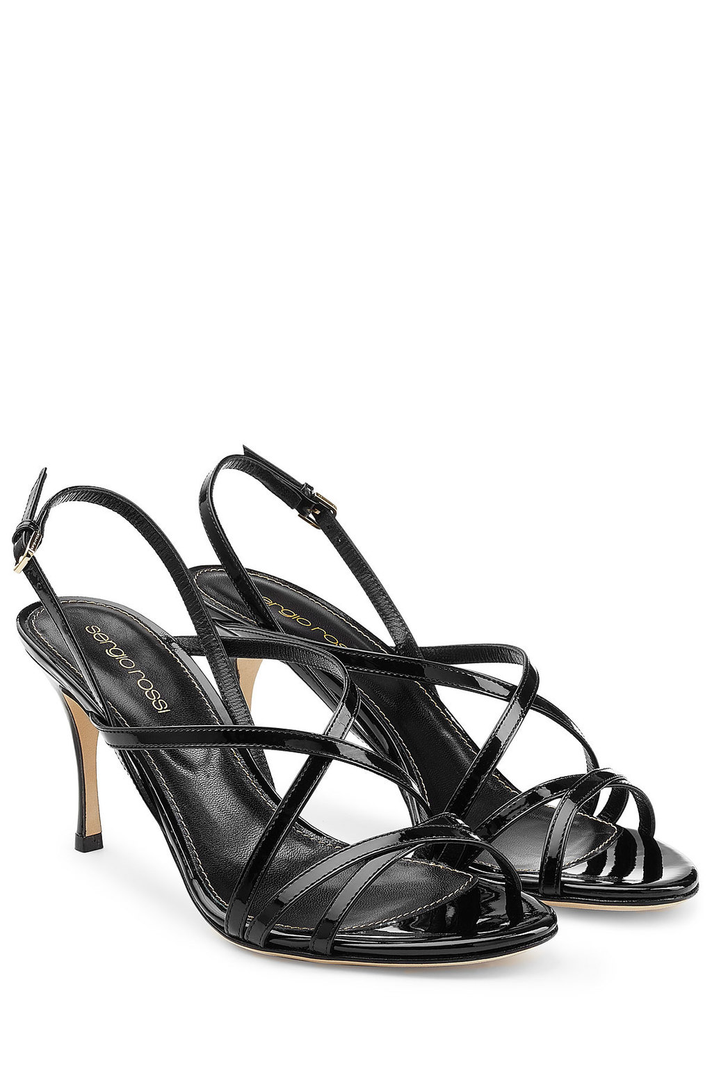 Patent Leather Mid Heel Sandals Black - predominant colour: black; occasions: evening; material: leather; heel height: high; heel: stiletto; toe: open toe/peeptoe; style: strappy; finish: plain; pattern: plain; season: s/s 2016