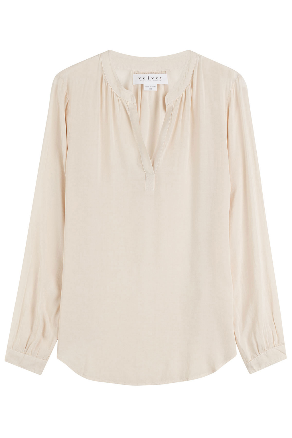 Blouse - neckline: v-neck; pattern: plain; length: below the bottom; style: blouse; predominant colour: ivory/cream; occasions: casual, creative work; fibres: viscose/rayon - 100%; fit: loose; sleeve length: long sleeve; sleeve style: standard; texture group: crepes; pattern type: fabric; season: s/s 2016; wardrobe: basic