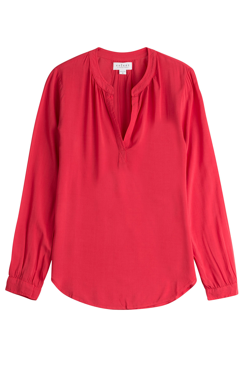V Neck Blouse Red - pattern: plain; style: blouse; predominant colour: true red; occasions: casual, creative work; length: standard; neckline: collarstand & mandarin with v-neck; fibres: viscose/rayon - 100%; fit: body skimming; sleeve length: long sleeve; sleeve style: standard; pattern type: fabric; texture group: other - light to midweight; season: s/s 2016