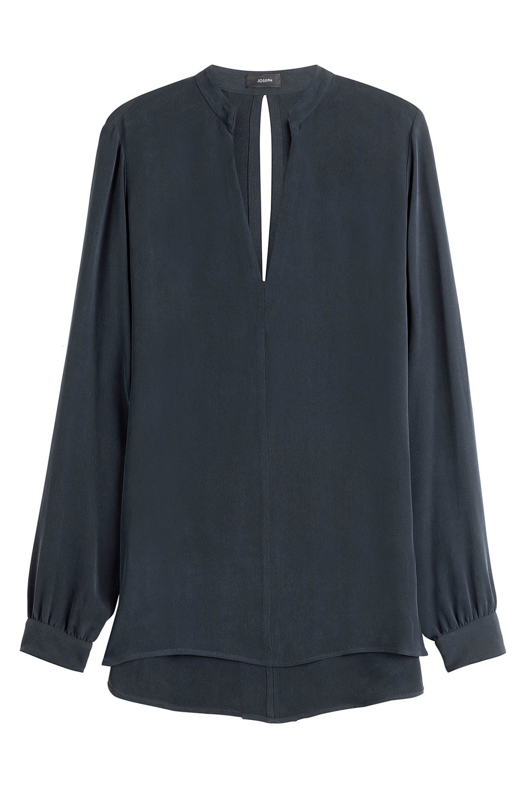 Silk Blouse - pattern: plain; length: below the bottom; style: blouse; predominant colour: navy; occasions: work, occasion; neckline: peep hole neckline; fibres: silk - 100%; fit: loose; sleeve length: long sleeve; sleeve style: standard; texture group: silky - light; pattern type: fabric; season: s/s 2016; wardrobe: basic