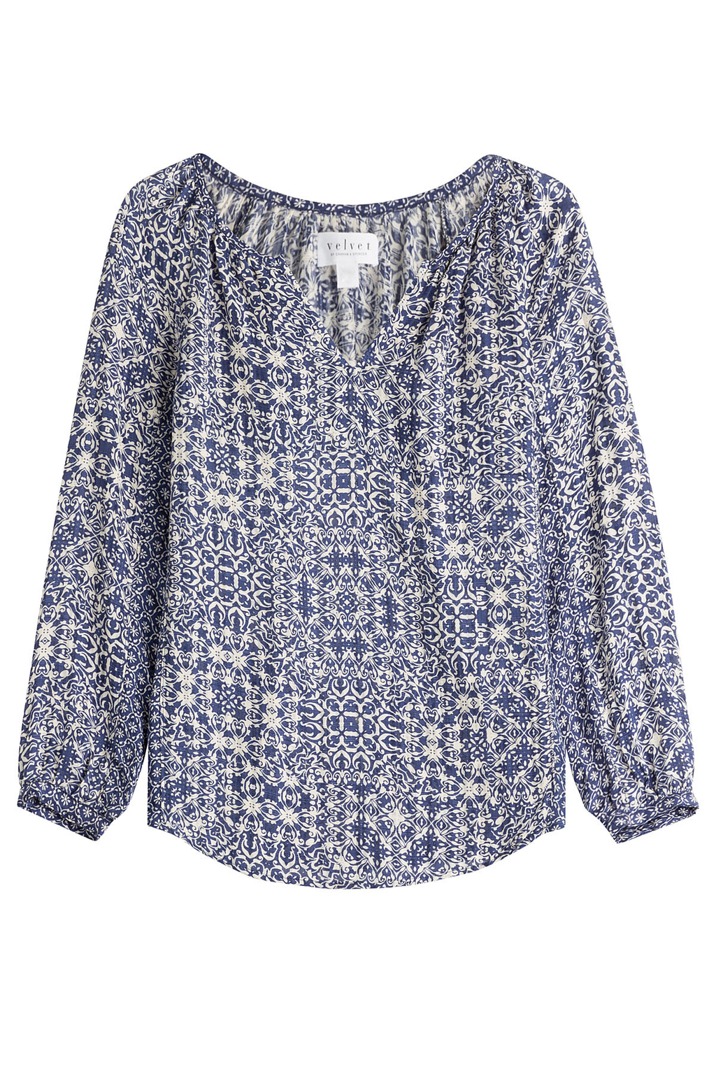 Printed Tunic Top Multicolored - secondary colour: white; predominant colour: navy; occasions: casual, creative work; length: standard; style: top; neckline: collarstand & mandarin with v-neck; fibres: viscose/rayon - 100%; fit: body skimming; sleeve length: 3/4 length; sleeve style: standard; pattern type: fabric; pattern: patterned/print; texture group: other - light to midweight; pattern size: big & busy (top); season: s/s 2016; wardrobe: highlight