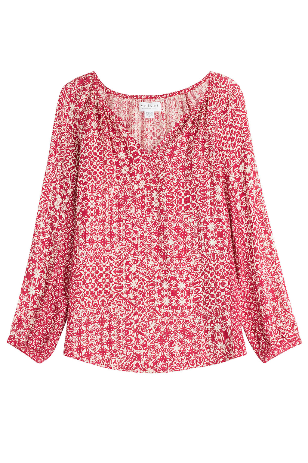 Printed Tunic Top Red - neckline: v-neck; secondary colour: white; predominant colour: true red; occasions: casual; length: standard; style: top; fibres: viscose/rayon - 100%; fit: body skimming; sleeve length: long sleeve; sleeve style: standard; pattern type: fabric; pattern: patterned/print; texture group: jersey - stretchy/drapey; multicoloured: multicoloured; season: s/s 2016