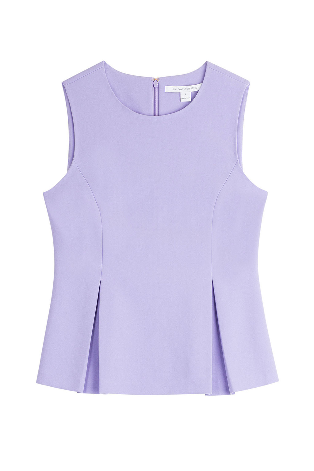 Shell With Inverted Pleats Purple - neckline: round neck; pattern: plain; sleeve style: sleeveless; waist detail: peplum waist detail; predominant colour: lilac; occasions: casual; length: standard; style: top; fibres: polyester/polyamide - stretch; fit: body skimming; hip detail: structured pleats at hip; sleeve length: sleeveless; texture group: crepes; pattern type: fabric; season: s/s 2016; wardrobe: highlight
