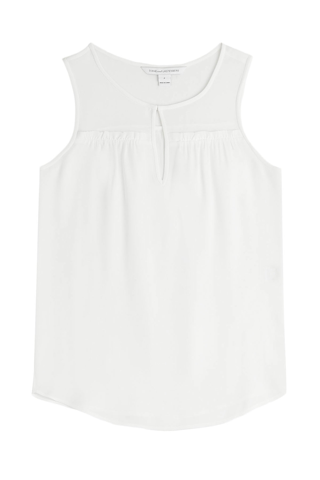 Silk Tank Top - pattern: plain; sleeve style: sleeveless; predominant colour: white; occasions: casual; length: standard; style: top; neckline: peep hole neckline; fibres: silk - 100%; fit: straight cut; sleeve length: sleeveless; texture group: silky - light; pattern type: fabric; season: s/s 2016; wardrobe: basic