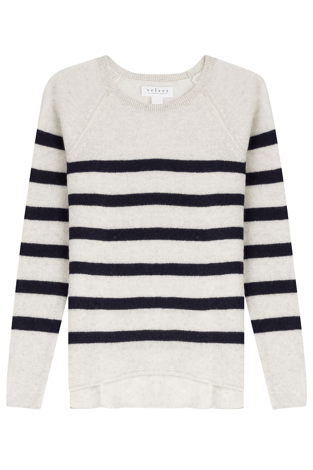 Striped Cashmere Pullover Stripes - neckline: round neck; pattern: horizontal stripes; style: standard; predominant colour: ivory/cream; secondary colour: navy; occasions: casual, creative work; length: standard; fit: standard fit; fibres: cashmere - 100%; sleeve length: long sleeve; sleeve style: standard; texture group: knits/crochet; pattern type: knitted - fine stitch; pattern size: standard; season: s/s 2016