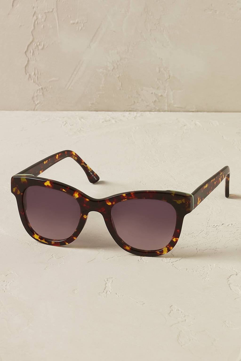 Minted Wayfarer Sunglasses - predominant colour: chocolate brown; occasions: casual, holiday; style: cateye; size: large; material: plastic/rubber; pattern: tortoiseshell; finish: plain; season: s/s 2016