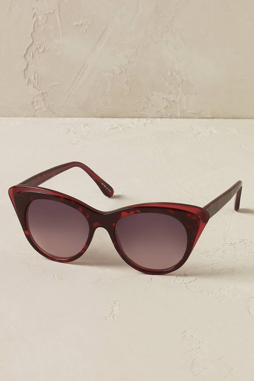 Rosalie Sunglasses - style: cateye; size: standard; material: plastic/rubber; pattern: plain; occasions: holiday; finish: plain; predominant colour: raspberry; season: s/s 2016; wardrobe: highlight