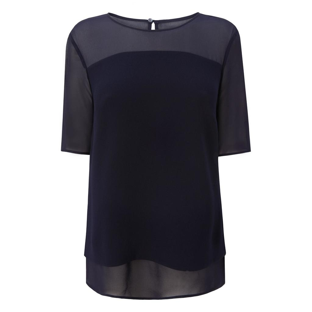 Elsa Navy Crepe Layered Top Blue Sloane Blue - neckline: round neck; pattern: plain; bust detail: sheer at bust; predominant colour: navy; occasions: casual; length: standard; style: top; fibres: polyester/polyamide - 100%; fit: body skimming; sleeve length: short sleeve; sleeve style: standard; texture group: crepes; pattern type: fabric; season: s/s 2016; wardrobe: basic