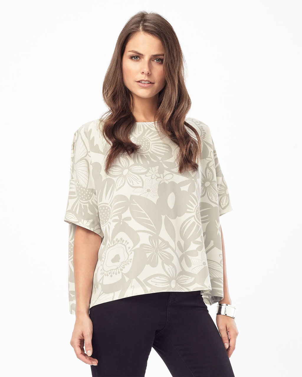 Albany Print Blouse - style: blouse; secondary colour: ivory/cream; predominant colour: stone; occasions: casual; length: standard; fibres: polyester/polyamide - stretch; fit: straight cut; neckline: crew; sleeve length: short sleeve; sleeve style: standard; pattern type: fabric; pattern: patterned/print; texture group: jersey - stretchy/drapey; pattern size: big & busy (top); season: s/s 2016; wardrobe: highlight