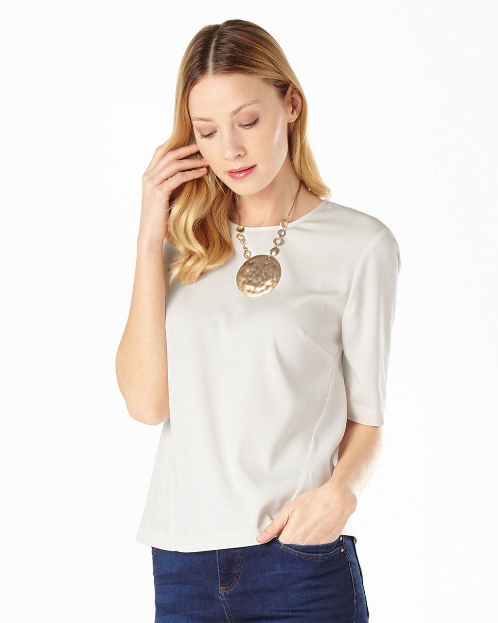 Annika Shell Top - pattern: plain; predominant colour: ivory/cream; occasions: casual, creative work; length: standard; style: top; fibres: polyester/polyamide - stretch; fit: body skimming; neckline: crew; sleeve length: half sleeve; sleeve style: standard; pattern type: fabric; texture group: jersey - stretchy/drapey; season: s/s 2016