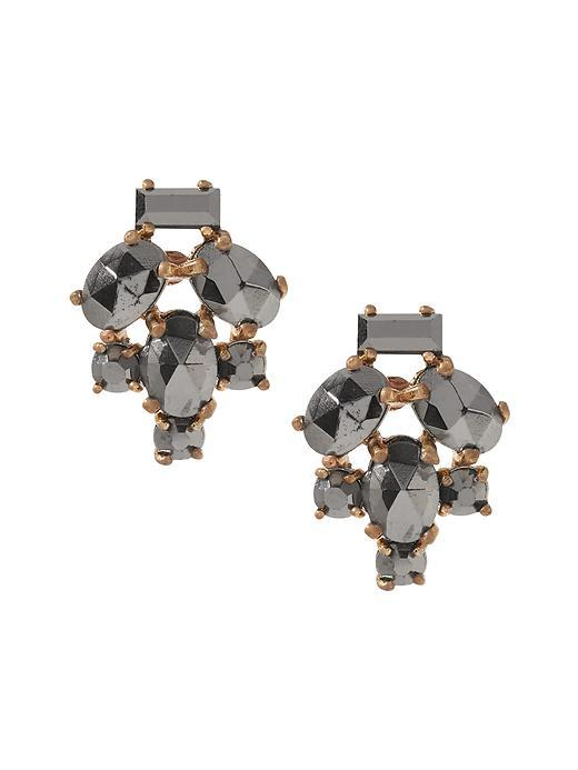Shattered Crystal Stud Earring Hematite - secondary colour: gold; predominant colour: mid grey; occasions: evening, occasion; style: stud; length: short; size: standard; material: chain/metal; fastening: pierced; finish: metallic; embellishment: jewels/stone; season: s/s 2016; wardrobe: event