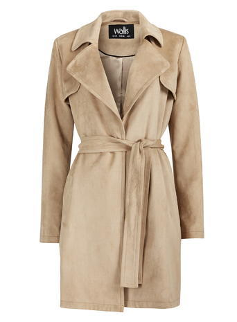 Womens Wallis Stone Suedette Trench Coat, Stone - pattern: plain; style: trench coat; length: on the knee; collar: standard lapel/rever collar; predominant colour: stone; occasions: work, creative work; fit: straight cut (boxy); fibres: polyester/polyamide - stretch; waist detail: belted waist/tie at waist/drawstring; sleeve length: long sleeve; sleeve style: standard; collar break: medium; pattern type: fabric; texture group: woven bulky/heavy; season: s/s 2016