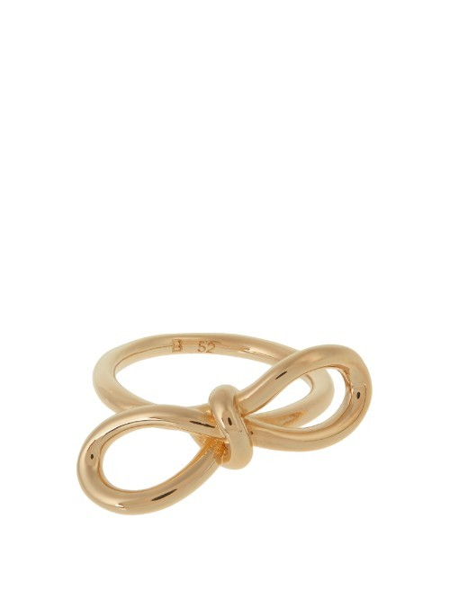 Boucle Bow Ring - predominant colour: gold; occasions: evening, occasion; style: band; size: standard; material: chain/metal; finish: metallic; embellishment: bow; season: s/s 2016; wardrobe: event
