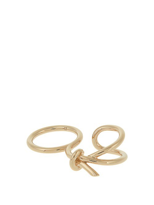 Asymmetric Bow Double Ring - predominant colour: gold; occasions: evening, occasion; style: cocktail; size: large/oversized; material: chain/metal; finish: metallic; season: s/s 2016; wardrobe: event