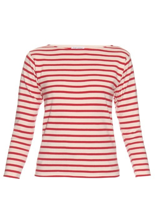 Marinière Slightly Destroyed Breton Stripe Top - neckline: slash/boat neckline; pattern: horizontal stripes; style: t-shirt; secondary colour: white; predominant colour: true red; occasions: casual, creative work; length: standard; fibres: cotton - 100%; fit: body skimming; sleeve length: 3/4 length; sleeve style: standard; pattern type: fabric; pattern size: light/subtle; texture group: jersey - stretchy/drapey; season: s/s 2016; wardrobe: highlight