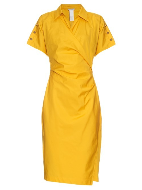 Fred Dress - style: faux wrap/wrap; neckline: shirt collar/peter pan/zip with opening; pattern: plain; predominant colour: yellow; occasions: casual; length: on the knee; fit: body skimming; fibres: cotton - 100%; sleeve length: short sleeve; sleeve style: standard; texture group: cotton feel fabrics; pattern type: fabric; season: s/s 2016; wardrobe: highlight
