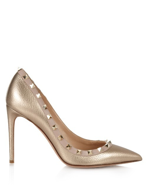 Rockstud Point Toe Pumps - predominant colour: gold; occasions: evening, occasion; material: leather; embellishment: studs; heel: stiletto; toe: pointed toe; style: courts; finish: metallic; pattern: plain; heel height: very high; season: s/s 2016; wardrobe: event