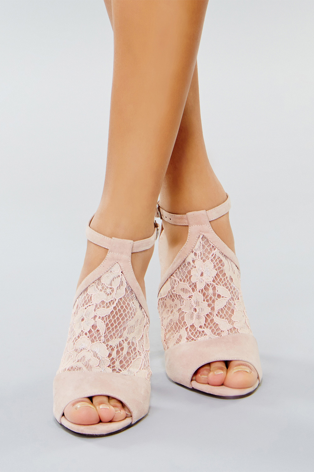 Esmae Lace Cage Shoe - predominant colour: blush; occasions: evening, occasion; material: lace; heel height: high; ankle detail: ankle strap; heel: stiletto; toe: open toe/peeptoe; style: standard; finish: plain; pattern: patterned/print; embellishment: lace; season: s/s 2016