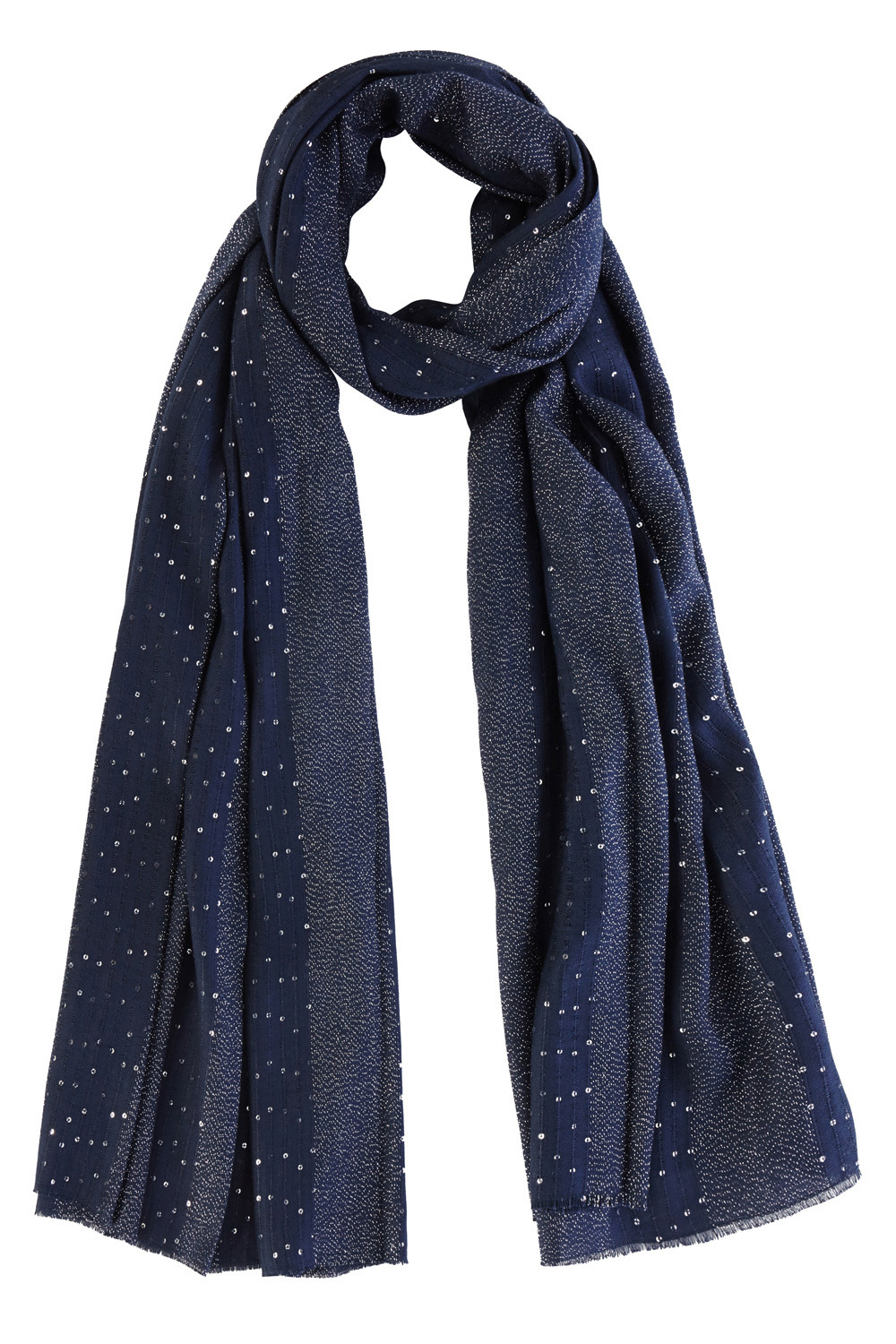 Lurex Sequin Scarf - predominant colour: navy; occasions: casual; type of pattern: standard; style: regular; size: standard; material: fabric; embellishment: sequins; pattern: plain; season: s/s 2016; wardrobe: highlight