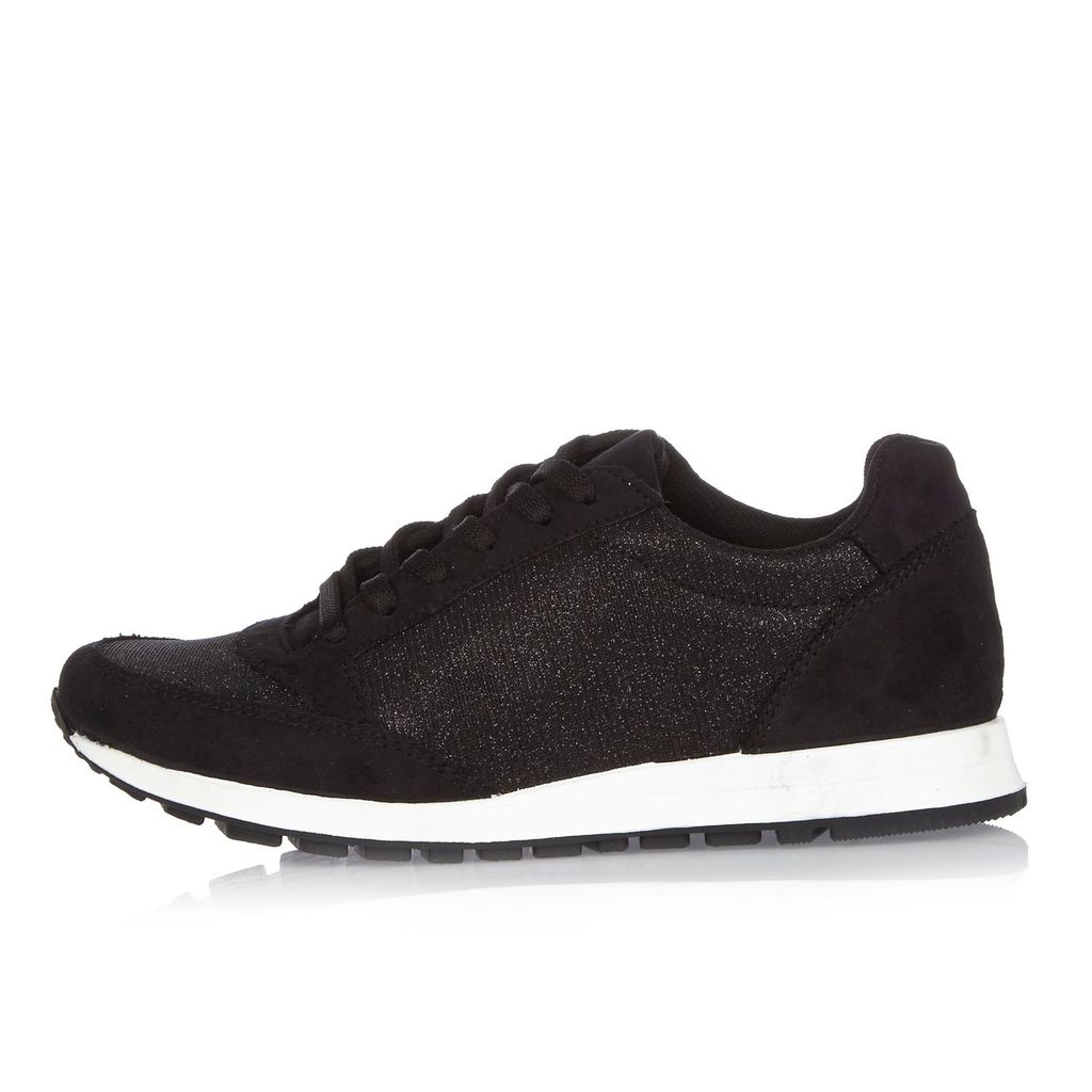Womens Black Glittery Trainers - predominant colour: black; occasions: casual; material: suede; heel height: flat; embellishment: glitter; toe: round toe; style: trainers; finish: plain; pattern: plain; shoe detail: moulded soul; season: s/s 2016; wardrobe: highlight