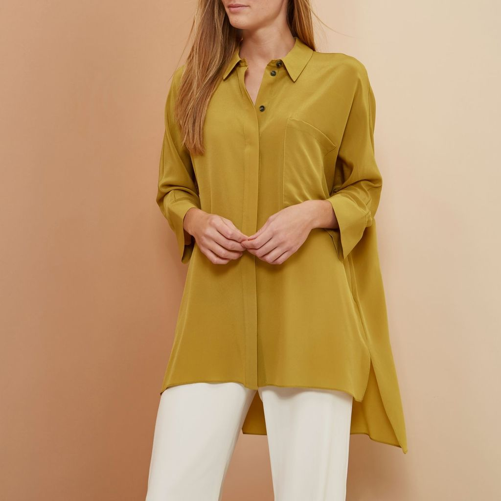Womens Yellow Ri Studio Minimal Oversized Silk Shirt - neckline: shirt collar/peter pan/zip with opening; pattern: plain; length: below the bottom; style: shirt; predominant colour: mustard; occasions: casual; fibres: silk - 100%; fit: loose; back detail: longer hem at back than at front; sleeve length: 3/4 length; sleeve style: standard; texture group: silky - light; pattern type: fabric; season: s/s 2016; wardrobe: highlight