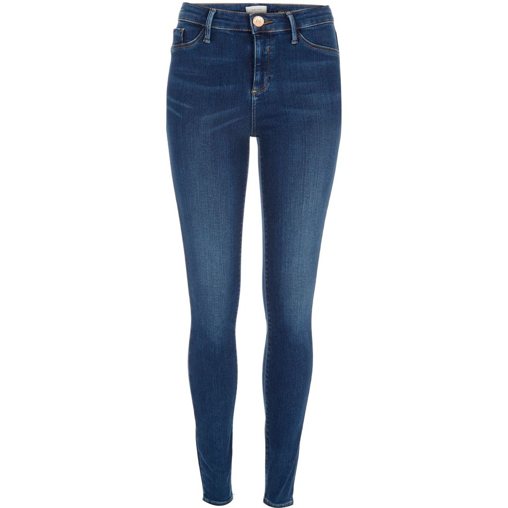 Womens Mid Blue Wash Sateen Molly Jeggings - style: skinny leg; length: standard; pattern: plain; waist: high rise; pocket detail: traditional 5 pocket; predominant colour: royal blue; occasions: casual; fibres: cotton - stretch; jeans detail: shading down centre of thigh; texture group: denim; pattern type: fabric; season: s/s 2016; wardrobe: basic