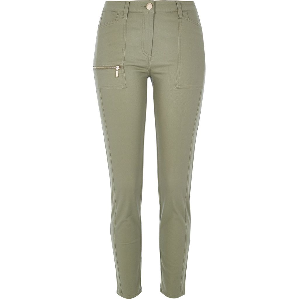 Womens Khaki Twill Zip Skinny Trousers - length: standard; pattern: plain; waist: mid/regular rise; predominant colour: khaki; occasions: casual; fibres: cotton - stretch; texture group: denim; fit: skinny/tight leg; pattern type: fabric; style: standard; season: s/s 2016