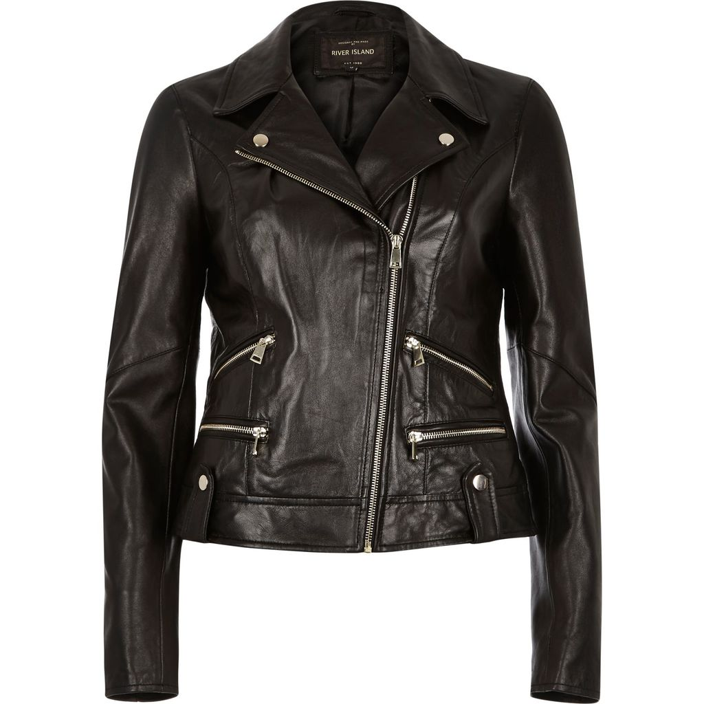 Womens Black Leather Biker Jacket - pattern: plain; style: biker; collar: standard biker; fit: slim fit; predominant colour: black; occasions: casual, creative work; length: standard; fibres: leather - 100%; sleeve length: long sleeve; sleeve style: standard; texture group: leather; collar break: high/illusion of break when open; pattern type: fabric; season: s/s 2016; wardrobe: basic