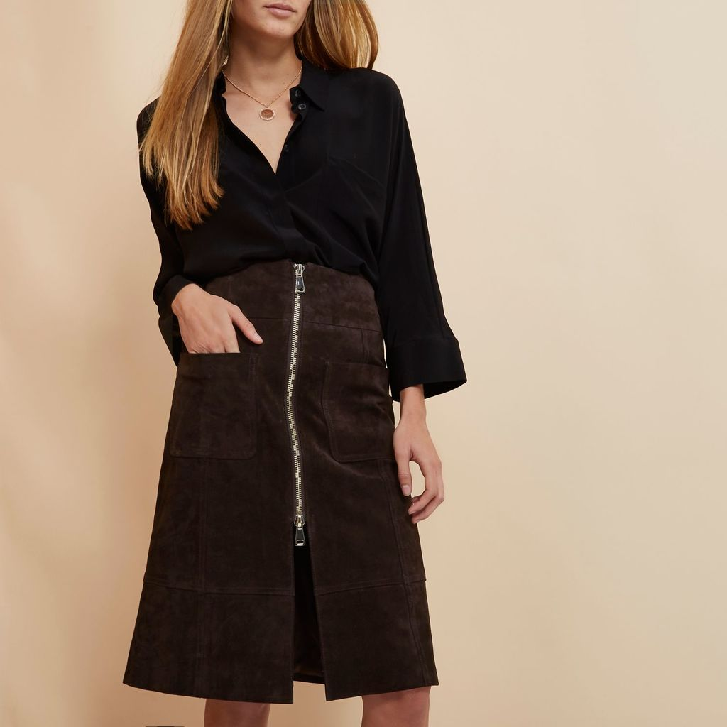 Womens Brown Ri Studio Suede Zip Up Skirt - pattern: plain; fit: loose/voluminous; waist: high rise; predominant colour: chocolate brown; occasions: casual, creative work; length: on the knee; style: a-line; fibres: leather - 100%; pattern type: fabric; texture group: suede; season: s/s 2016; wardrobe: highlight