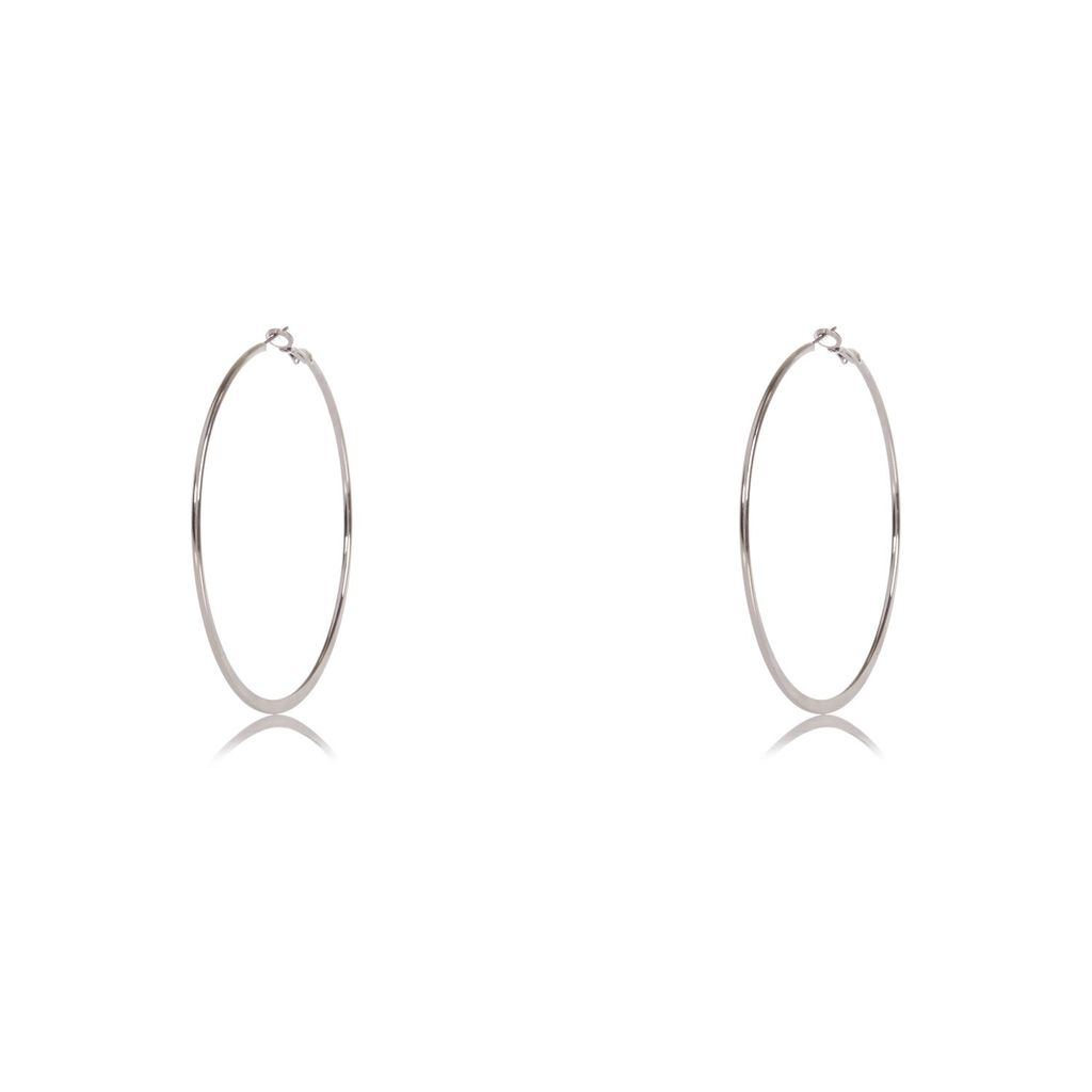 Womens Silver Tone Flat Hoop Earrings - predominant colour: silver; occasions: evening, occasion; style: hoop; length: mid; size: standard; material: chain/metal; fastening: pierced; finish: metallic; season: s/s 2016; wardrobe: event