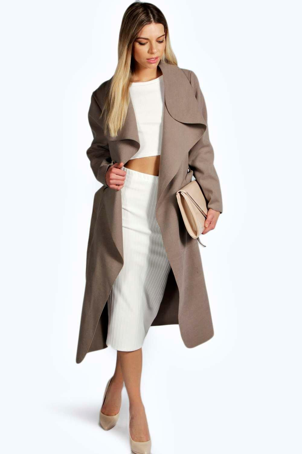 Belted Shawl Collar Coat Pink - pattern: plain; style: mac; length: on the knee; collar: standard lapel/rever collar; predominant colour: taupe; occasions: casual, creative work; fit: straight cut (boxy); fibres: polyester/polyamide - stretch; sleeve length: long sleeve; sleeve style: standard; texture group: technical outdoor fabrics; collar break: low/open; pattern type: fabric; season: s/s 2016; wardrobe: basic