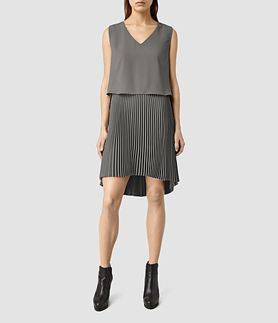Taya Dress - style: shift; neckline: v-neck; pattern: plain; sleeve style: sleeveless; predominant colour: mid grey; length: just above the knee; fit: body skimming; fibres: polyester/polyamide - 100%; sleeve length: sleeveless; pattern type: fabric; texture group: other - light to midweight; occasions: creative work; season: s/s 2016; wardrobe: investment