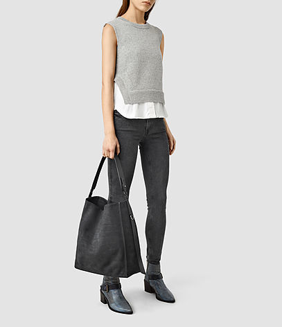 Paradise North South Croc Leather Tote - predominant colour: black; occasions: casual; type of pattern: standard; style: tote; length: hand carry; size: oversized; material: leather; pattern: plain; finish: plain; season: s/s 2016; wardrobe: investment