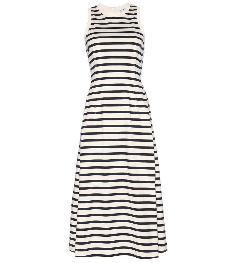 Striped Cotton Jersey Dress - style: shift; length: below the knee; pattern: horizontal stripes; sleeve style: sleeveless; predominant colour: white; secondary colour: black; occasions: casual, creative work; fit: soft a-line; fibres: cotton - 100%; neckline: crew; sleeve length: sleeveless; pattern type: fabric; pattern size: standard; texture group: jersey - stretchy/drapey; season: s/s 2016; wardrobe: basic