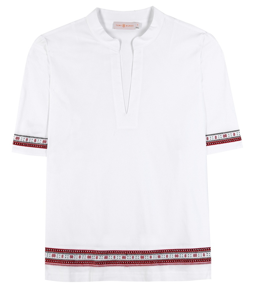 Embroidered Cotton Tunic - neckline: round neck; pattern: plain; length: below the bottom; style: tunic; predominant colour: white; occasions: casual, creative work; fibres: cotton - 100%; fit: straight cut; sleeve length: short sleeve; sleeve style: standard; texture group: cotton feel fabrics; pattern type: fabric; season: s/s 2016; wardrobe: basic