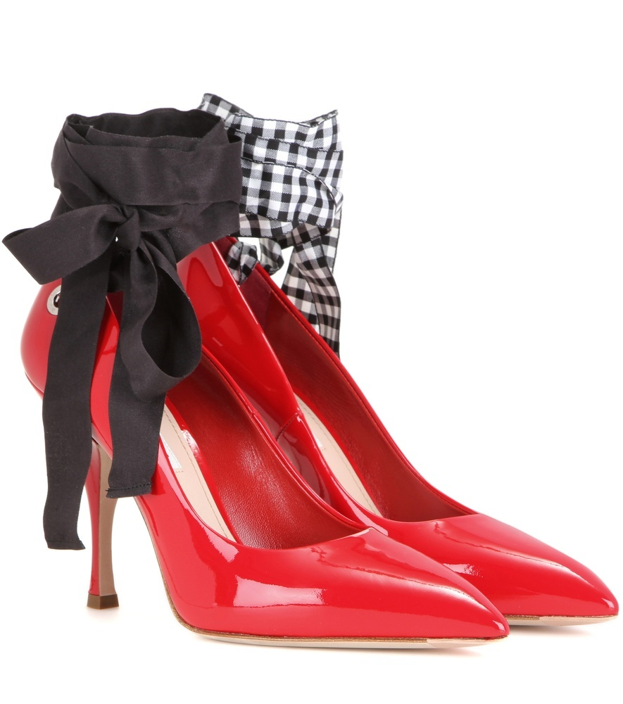 Patent Leather Pumps - predominant colour: true red; secondary colour: black; occasions: evening, creative work; material: leather; heel height: high; ankle detail: ankle tie; heel: stiletto; toe: pointed toe; style: courts; finish: patent; pattern: checked/gingham; embellishment: bow; season: s/s 2016; wardrobe: highlight