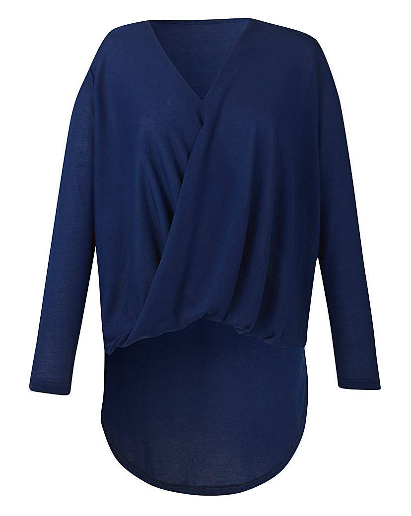 Twist Front Dip Hem Top - neckline: v-neck; pattern: plain; length: below the bottom; style: wrap/faux wrap; predominant colour: navy; occasions: casual; fibres: polyester/polyamide - 100%; fit: body skimming; sleeve length: long sleeve; sleeve style: standard; pattern type: fabric; texture group: jersey - stretchy/drapey; season: s/s 2016; wardrobe: basic
