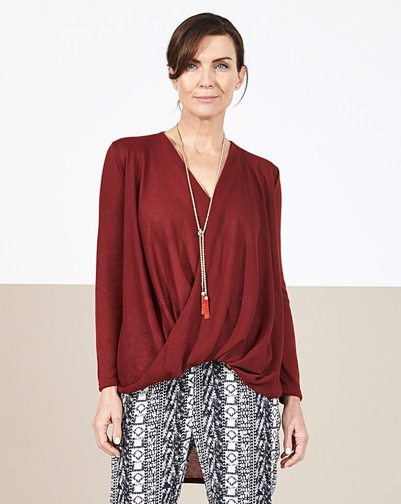 Twist Front Dip Hem Top - neckline: v-neck; pattern: plain; length: below the bottom; style: wrap/faux wrap; bust detail: subtle bust detail; predominant colour: burgundy; occasions: casual; fibres: polyester/polyamide - 100%; fit: body skimming; back detail: longer hem at back than at front; sleeve length: long sleeve; sleeve style: standard; pattern type: fabric; texture group: jersey - stretchy/drapey; season: s/s 2016; wardrobe: highlight