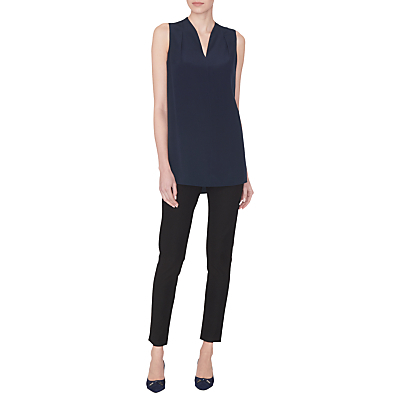 Silk Marcy Blouse - neckline: v-neck; pattern: plain; sleeve style: sleeveless; length: below the bottom; style: blouse; predominant colour: navy; occasions: casual, evening, creative work; fibres: silk - 100%; fit: straight cut; sleeve length: sleeveless; texture group: silky - light; pattern type: fabric; pattern size: standard; season: s/s 2016; wardrobe: basic