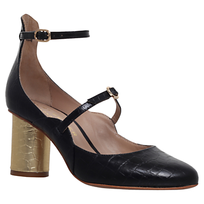 Maggie Block Heeled Court Shoes - predominant colour: black; occasions: casual, creative work; material: leather; heel height: mid; embellishment: buckles; ankle detail: ankle strap; heel: block; toe: round toe; style: courts; finish: plain; pattern: plain; season: s/s 2016