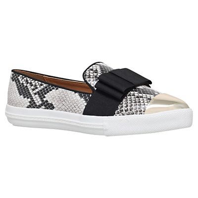 Lisa Slip On Trainers - predominant colour: white; secondary colour: black; occasions: casual; material: faux leather; heel height: flat; toe: pointed toe; finish: plain; pattern: animal print; embellishment: bow; shoe detail: moulded soul; style: skate shoes; season: s/s 2016; wardrobe: highlight