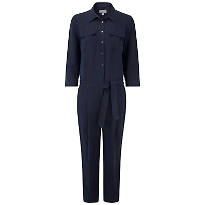 Lynton Silk Linen Blend Jumpsuit, Navy - length: standard; neckline: shirt collar/peter pan/zip with opening; pattern: plain; waist detail: belted waist/tie at waist/drawstring; predominant colour: navy; occasions: casual, creative work; fit: body skimming; fibres: silk - mix; sleeve length: 3/4 length; sleeve style: standard; texture group: silky - light; style: jumpsuit; bust detail: bulky details at bust; pattern type: fabric; season: s/s 2016; wardrobe: highlight