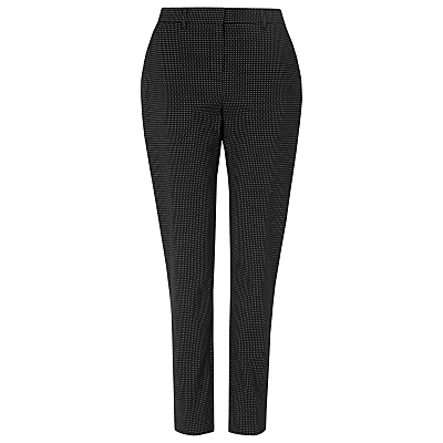 Carlotta Trousers, Blue - waist: mid/regular rise; secondary colour: white; predominant colour: navy; occasions: casual, creative work; length: ankle length; fibres: cotton - stretch; waist detail: feature waist detail; fit: slim leg; pattern type: fabric; pattern: patterned/print; texture group: woven light midweight; style: standard; pattern size: light/subtle (bottom); season: s/s 2016; wardrobe: highlight