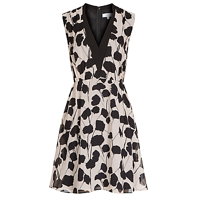 Cate Printed Dress, Neutral/Black - length: mini; neckline: low v-neck; sleeve style: sleeveless; predominant colour: ivory/cream; secondary colour: black; occasions: evening, occasion; fit: fitted at waist & bust; style: fit & flare; fibres: silk - 100%; hip detail: subtle/flattering hip detail; sleeve length: sleeveless; texture group: sheer fabrics/chiffon/organza etc.; pattern type: fabric; pattern size: standard; pattern: patterned/print; season: s/s 2016; wardrobe: event
