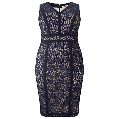 Antoinette Lace Dress, Navy - style: shift; length: mid thigh; neckline: v-neck; fit: tailored/fitted; sleeve style: sleeveless; secondary colour: ivory/cream; predominant colour: navy; occasions: evening, occasion; fibres: polyester/polyamide - 100%; sleeve length: sleeveless; texture group: lace; pattern type: fabric; pattern size: standard; pattern: patterned/print; season: s/s 2016; wardrobe: event