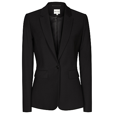 Elia Jacket, Black - pattern: plain; style: single breasted blazer; collar: standard lapel/rever collar; predominant colour: black; occasions: work, creative work; length: standard; fit: tailored/fitted; fibres: wool - stretch; sleeve length: long sleeve; sleeve style: standard; collar break: medium; pattern type: fabric; texture group: woven light midweight; season: s/s 2016; wardrobe: investment