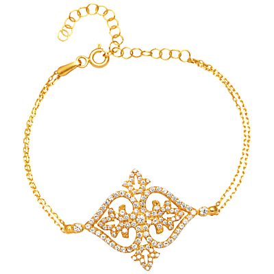 Cubic Zirconia Filigree Bracelet - predominant colour: gold; occasions: evening, occasion; style: chain; size: standard; material: chain/metal; finish: metallic; embellishment: crystals/glass; season: s/s 2016