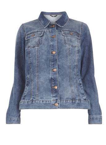 Midwash Denim Jacket - pattern: plain; style: denim; fit: slim fit; predominant colour: denim; occasions: casual; length: standard; fibres: cotton - mix; collar: shirt collar/peter pan/zip with opening; sleeve length: long sleeve; sleeve style: standard; texture group: denim; collar break: high/illusion of break when open; pattern type: fabric; trends: leisure; season: s/s 2016; wardrobe: highlight; embellishment location: bust